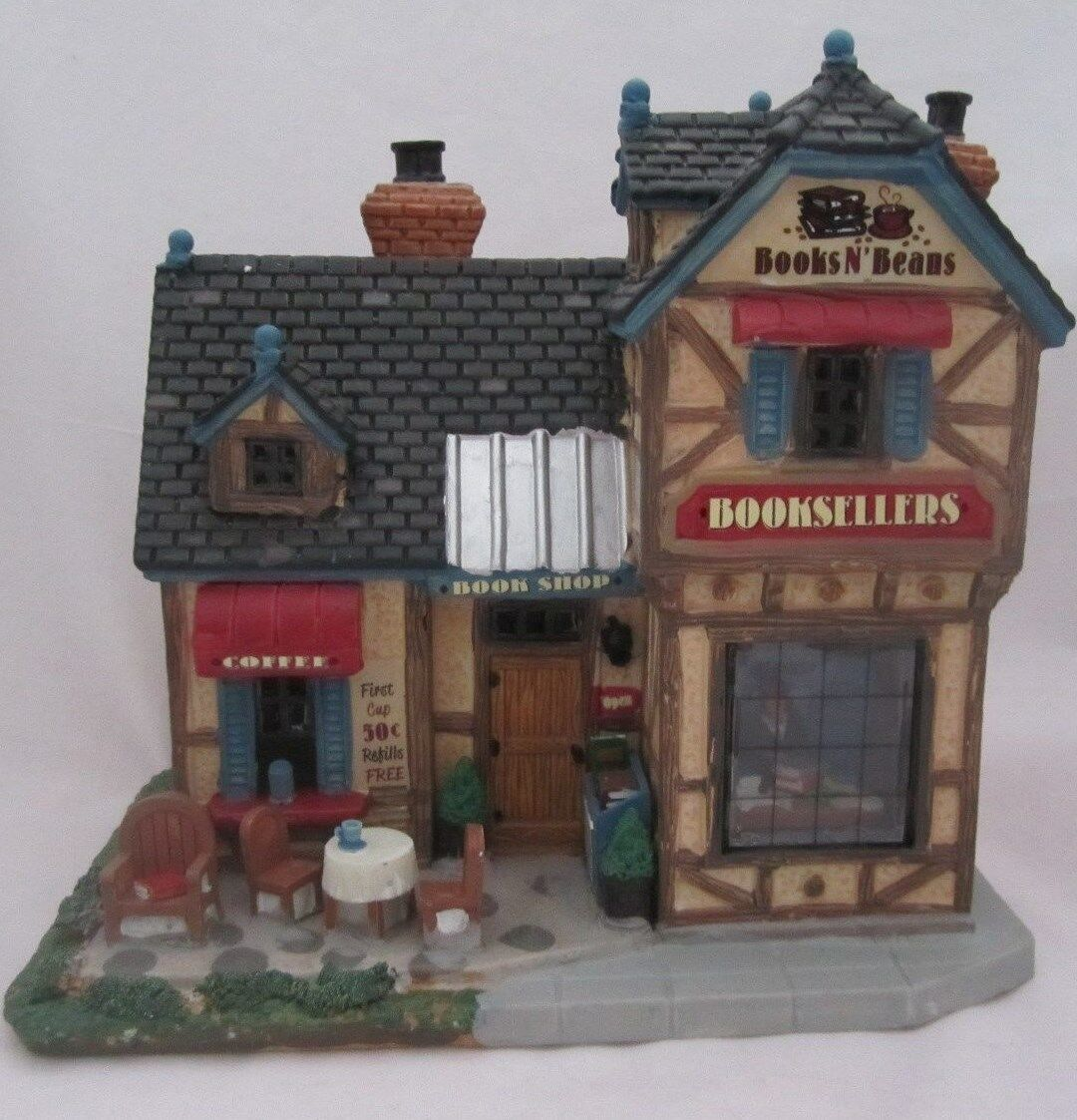 Lemax Books 'n Beans Booksellers Village Building Lighted House NEW Store Exc