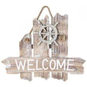 "Coastal Ocean Beach House Wood Welcome Sign Driftwood Look Ship/'s Wheel 13/"" x 11"