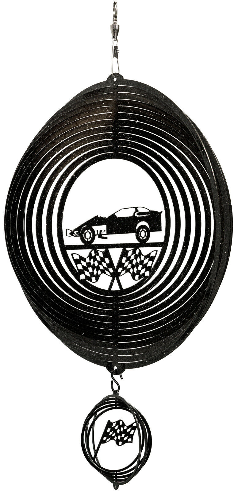SWEN Products MODIFIED RACE CAR RACING BLACK Swirly COMBO Metal Wind Spinner