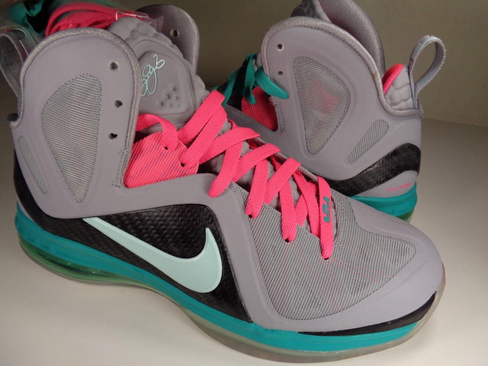 Nike Lebron 9 PS Elite IX South Beach Wolf Grey Pink Green SZ 9 (516958-001)