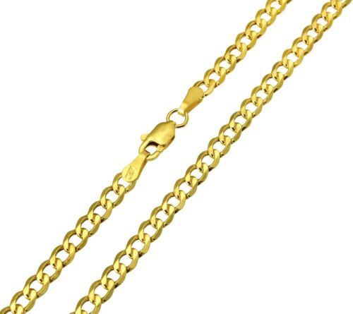"14K Real Yellow Gold 3.4mm Concave Curb Cuban Hollow Chain Necklace 22/"" Inches"