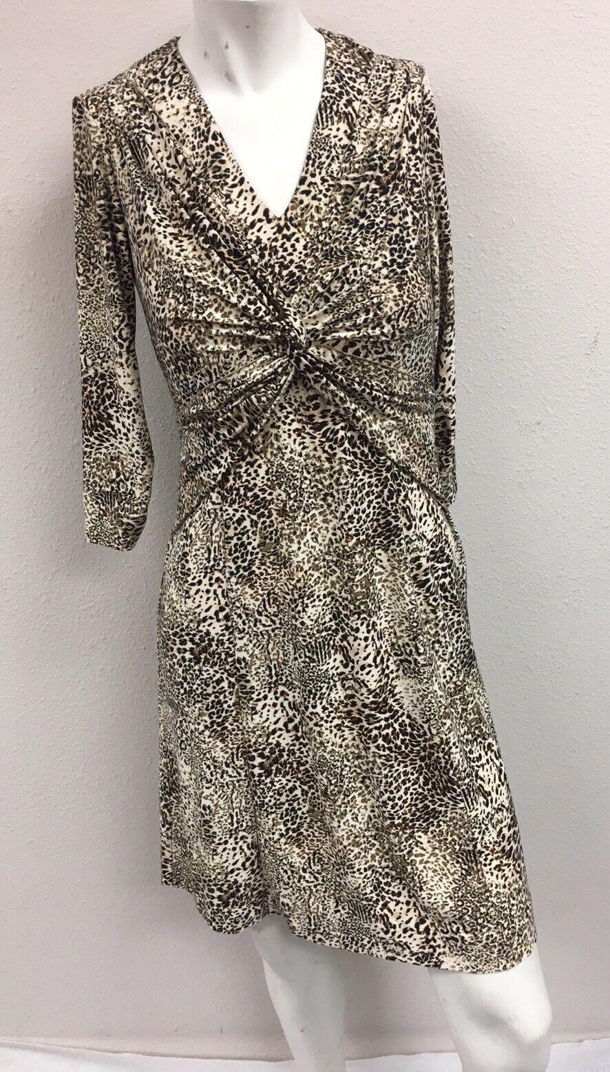 Leggiadro Woherren Leopard Animal Print 3 4 Sleeve Stretch V-Neck Dress Größe 4