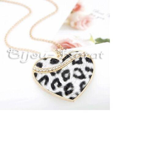 Gran leopardos corazón cadenas remolque con larga cadena de oro pedrería negro//blanco
