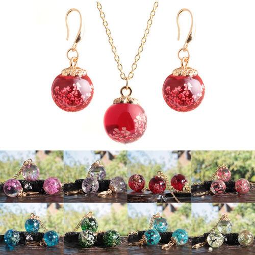 Transparente de cristal secado flor colgante collar Dangle pendientes joyería