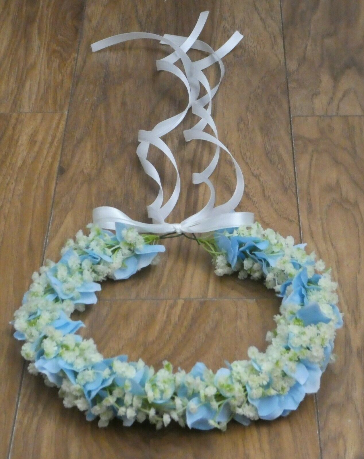 Gypsophila Babies Breath Hydrangea Crown Halo Hair Bride Wedding headband Blue