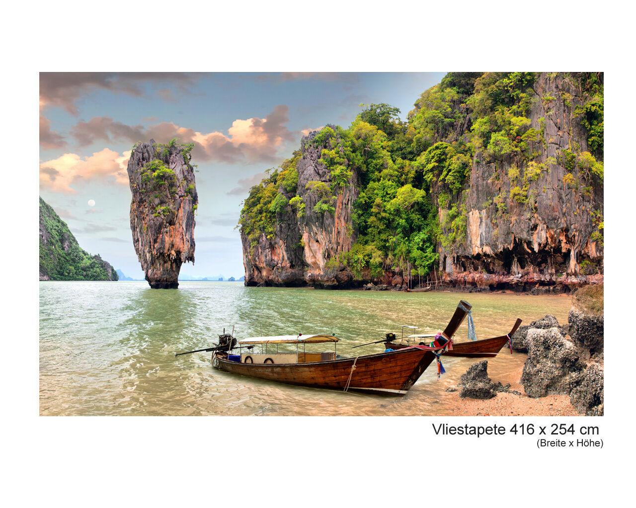 Vliestapete Tapete Wandbild Thailand James Bond Fels Insel Strand Stein Natur