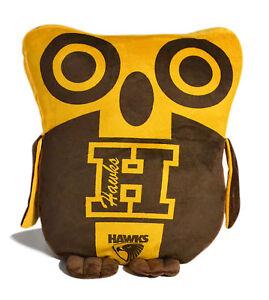 LARGE Licensed AFL Hawthorn Hawks OWL Cushion Pillow Teddy Girls & Boys Gift