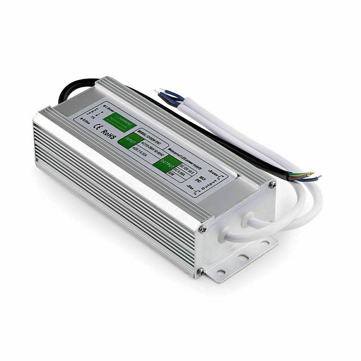 12V 24V Waterproof LED Driver Power Supply Transformer PSU - IP67 10-300 W