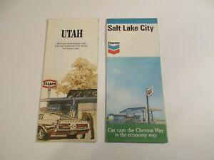 Lot of 2 Texaco & Chevron Salt Lake City & Utah Oil Gas Station Road Maps~Box L7