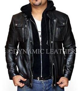 New Mens Motorcycle Brando Style Biker Real Leather Hoodie Jacket