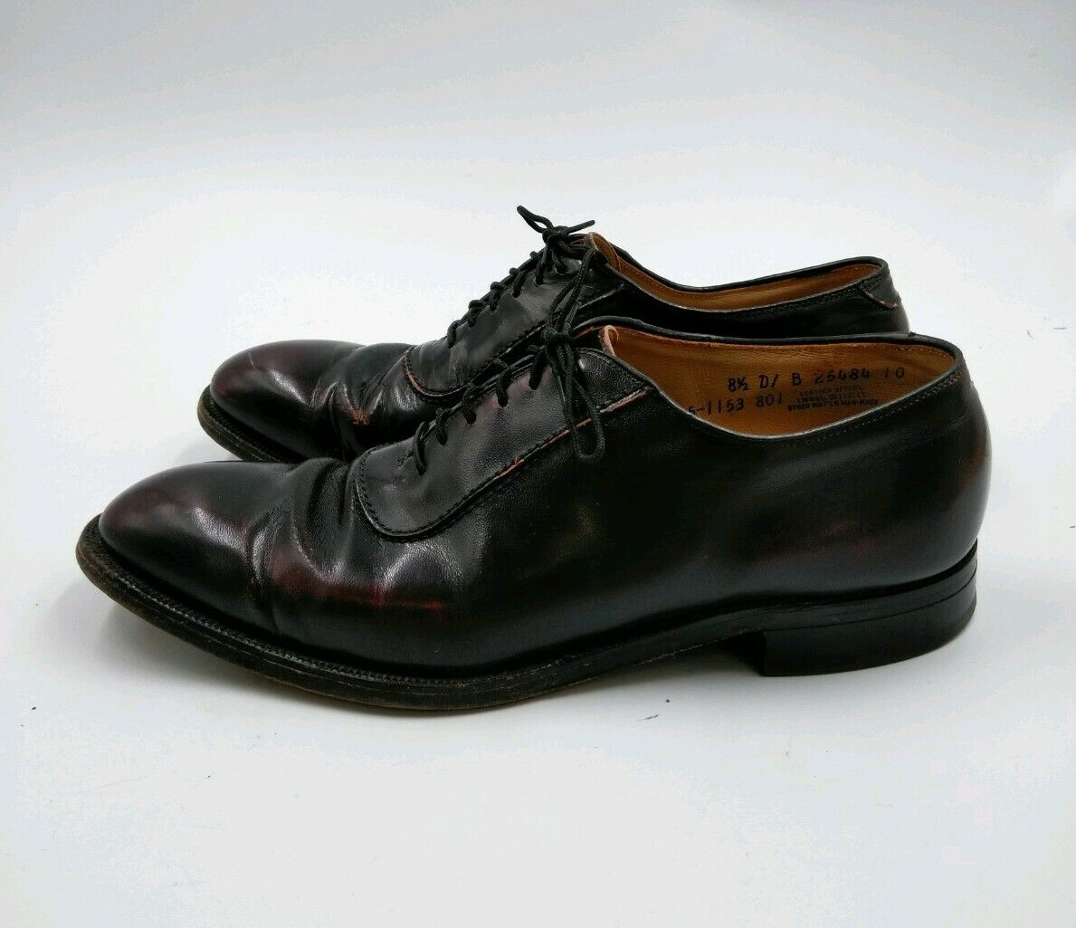 JOHNSTON & MURPHY Mens Leather Dress Shoes Size 8.5D Dark Burgundy Made in USA