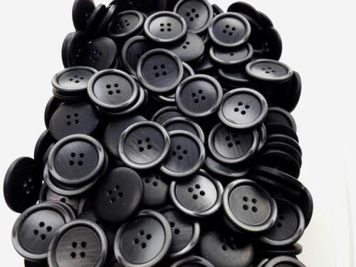 25 MM Noir /& Foncé Gris Ardoise Pearlescent Brosse effet 4 Trous Craft Boutons Q620