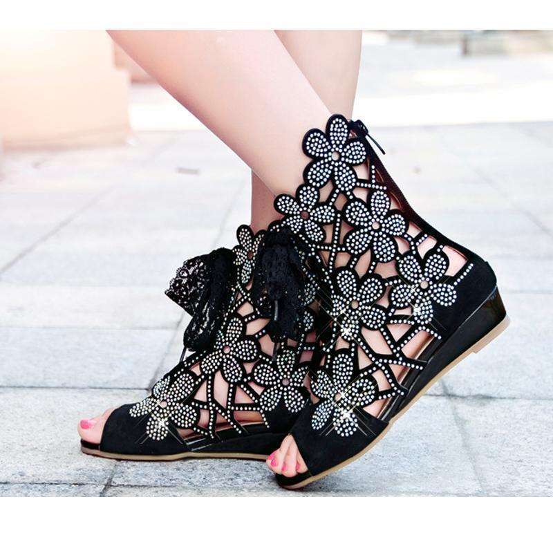 Designer Keilabsatz Strassstein Blumen Sandale Damen Schuhe Gr.34-40 Top