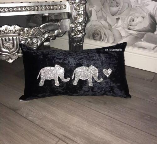 Elephant Cushion Crushed Velvet Glitter ANY COLOUR Baby Elephants Kids Room