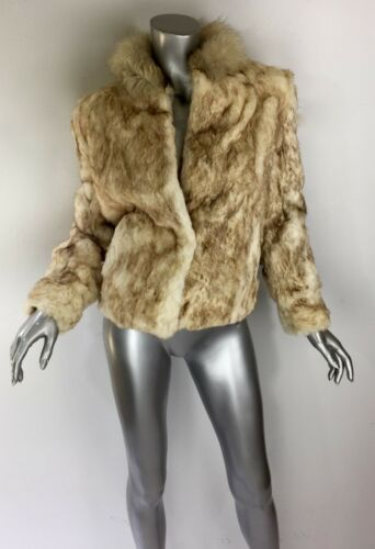 Pockets Sleeve Sz6 Blonde Collared Fur Cropped Jacket Coat Vintage White Long xnqFRg0Wvw
