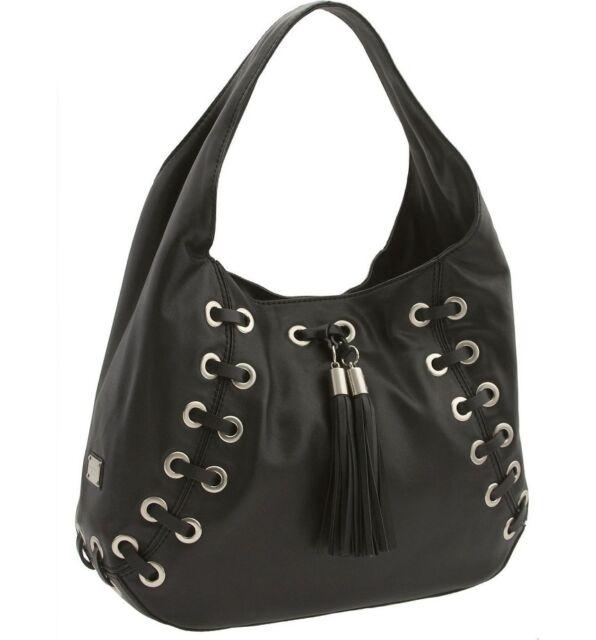 Michael Kors Astor Grommet Gold Black Leather Lace Tassel Shoulder Bag Tote Hobo