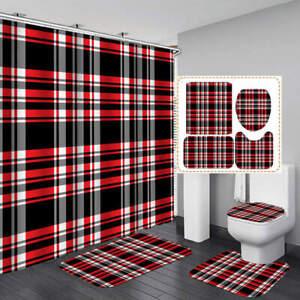 Black White Red Striped Shower Curtain, Black Bathroom Rug Set