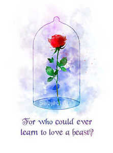 Art Print Enchanted Rose Quote Illustration Beauty And The Beast