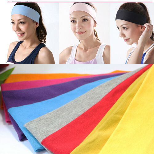Sports Yoga Headband Cotton Stretch 6.5cm Wide Hairband Girls Women Kid armband