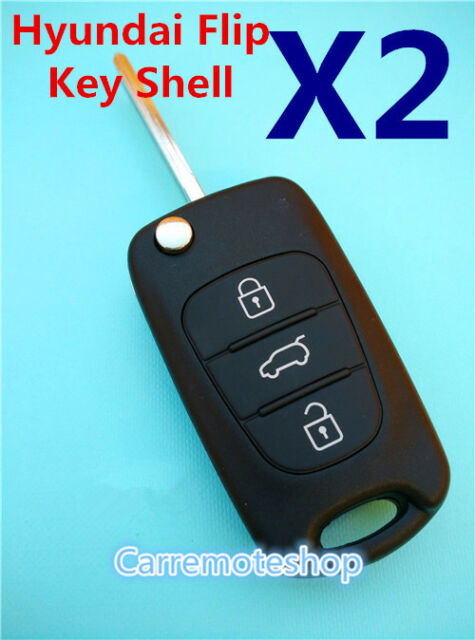 2 x Hyundai i30 i20 Elantra 3 Button Remote Flip Key  Case Shell