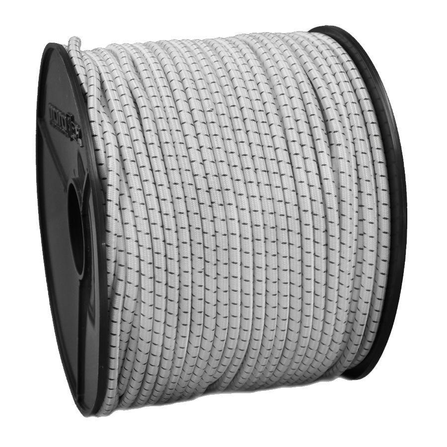 6mm PES Expanderseil Gummiseil weiss / schwarz 100m Spanngummi für Stiefel Kajak