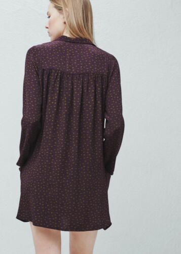 Purple Polka Dot Shirt Blouse Flowy Mango Dress S M UK 8 10 US 4 6 Zara Blogger❤