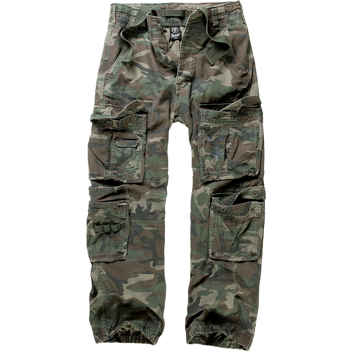 BRANDIT MENS PURE VINTAGE HIKING TROUSERS PAINTBALL HUNTING PANTS WOODLAND CAMO