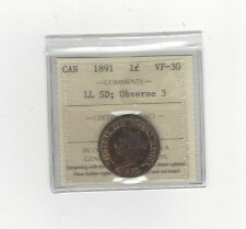 **1891 SD/LL Obv#3**,ICCS Graded Canadian, Large One Cent, **VF-30**