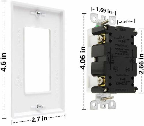 UL Listed TR/&WR Receptacle Indoor or Outdoor Use,Wall Plate GFCI Outlet 20 Amp