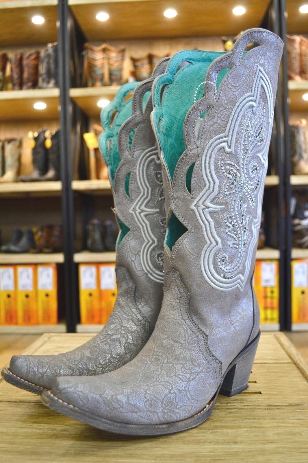Corral Ladies Silver Embroidery & Swarovski Crystal Snip Toe Western Boots C3202