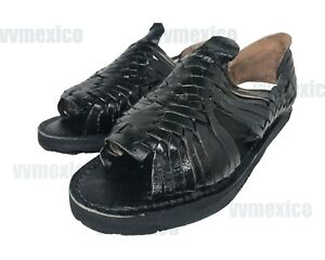 274f658b5072d Details about MENS LEATHER MEXICAN SANDALS black HUARACHE made in mexico  SHOES *ALL SIZES*
