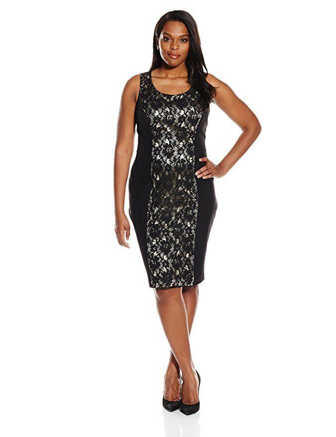 SINGLE Dress Woherren Plus Größe 2X Sleeveless Sheath Lace Stretch Body Con schwarz