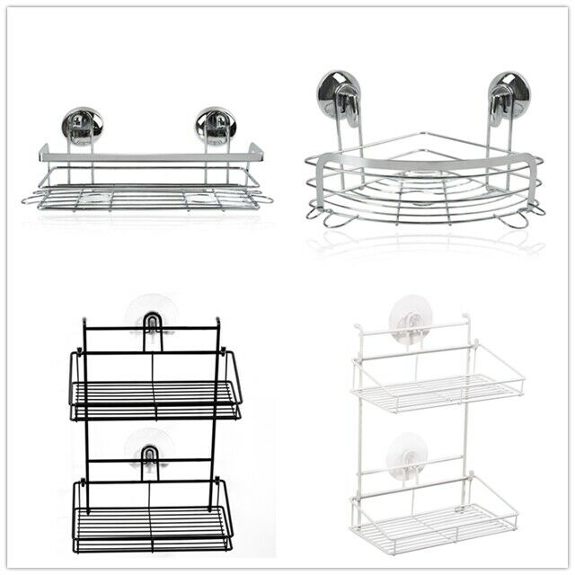 SUNFICON Rotating Bathroom Shelf Adhesive Shower Caddy Basket Organizer Wall Mounted Spices Storage Rack No Drilling Shower Shelf Bath Essentials Makeups Shampoo Holder with Traceless Clear Adhesive