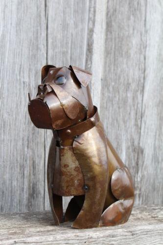 Rusty Recycled Metal Bulldog Decorative Lawn Decoration