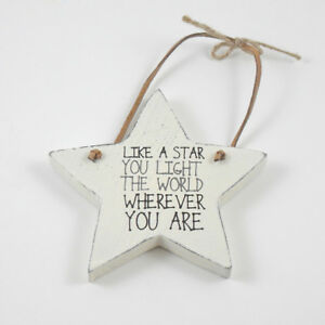 Light The World Small White Wooden Hanging Star Home Decoration