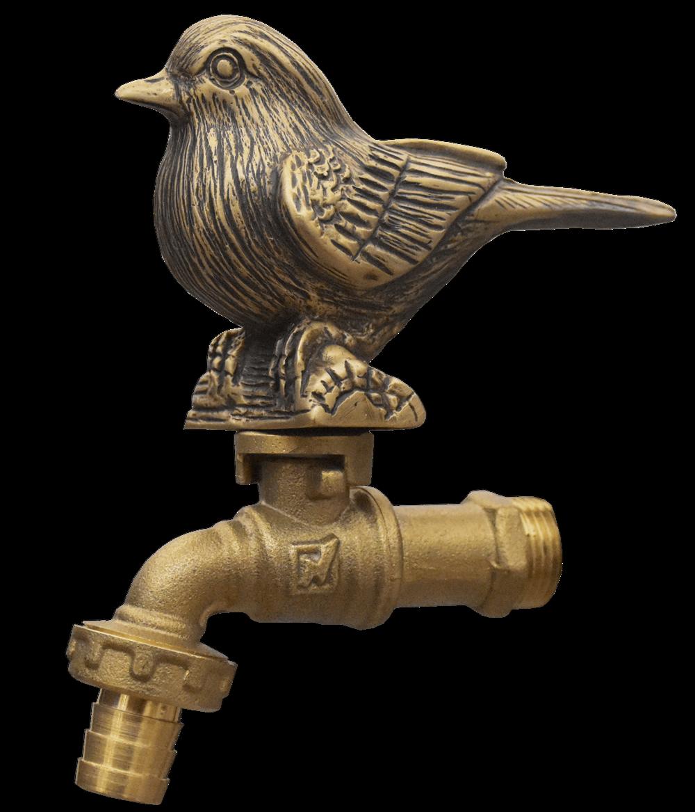 Brass Garden Tap Faucet Bird Spigot Vintage Water Home Yard Decor Living Outdoor