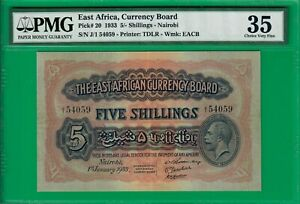 East-Africa-5-shillings-1933-P20-Choice-VF-PMG-35-highest-grade-offered-ebay