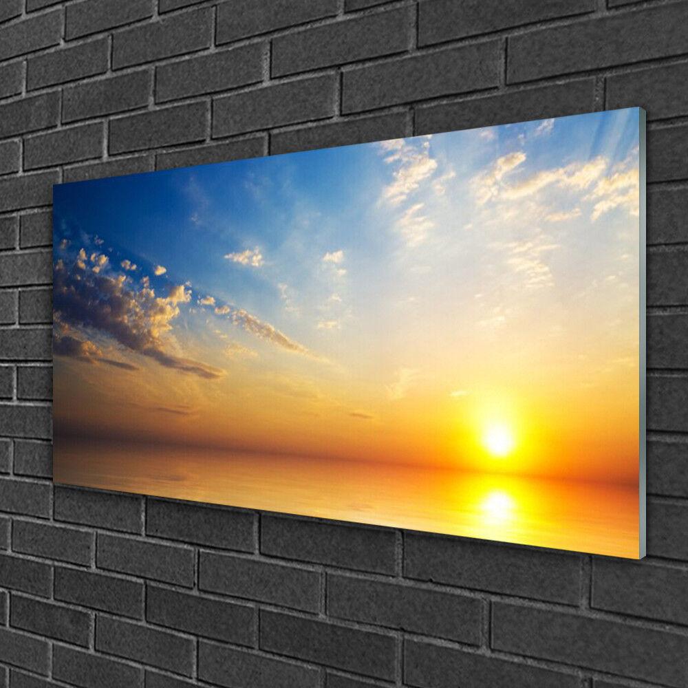Image sur verre acrylique Tableau Impression 100x50 Lever Soleil Mer Nuages