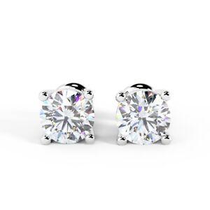 RRP £7000 1.00Ct F/VS Natural Round Diamond Stud Earrings In Platinum