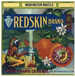 Details about REDSKIN Brand, Rialto San Bernardino *An Original 1920's  Orange Crate Label* 059