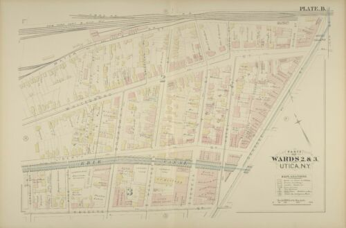 NEW YORK 1883 G.M HOPKINS UTICA BAGGS SQUARE OPERA HOUSE COPY PLAT ATLAS MAP