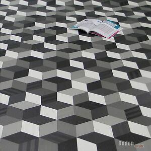 Details zu PVC Bodenbelag Cube 3D Würfel Schwarz Weiß Grau Breite 2 m  1m²/12,95€