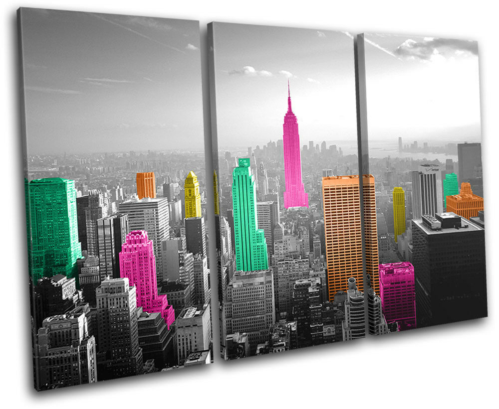 New York Skyline Colourful Pop Art City TREBLE Leinwand Kunst Bild drucken
