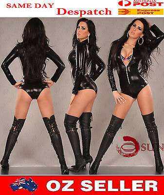 Women Dance Lady GaGa Sexy Lingerie Costumes Black PVC Faux Leather Jumpsuit
