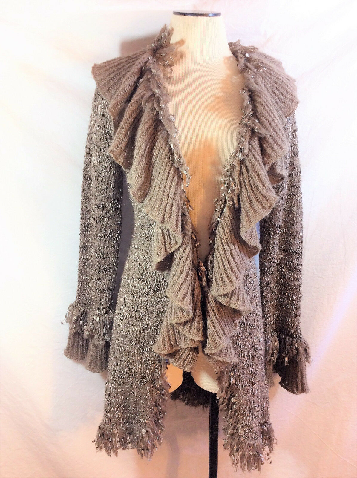 Sioni Women's Long Sleeve Ruffled Taupe Duster Sz M