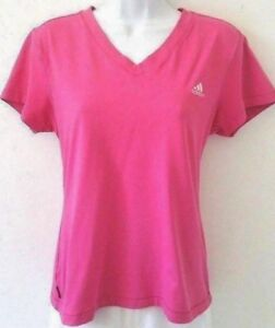 Adidas-Womens-L-Pink-V-Neck-Short-Sleeve-Stretch-Athletic-Top