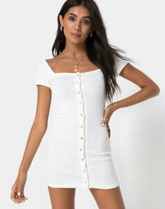 MOTEL-ROCKS-Zilena-Bodycon-Dress-in-Rib-Ivory-Size-Small-S-mr13-1