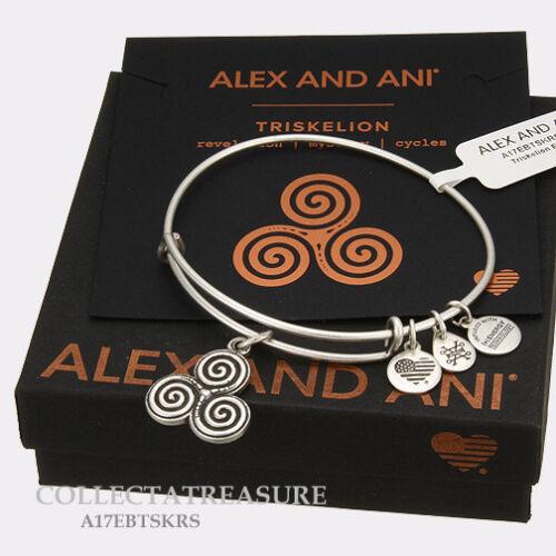 Authentic Alex and Ani Triskelion Rafaelian Silver Expandable Charm Bangle