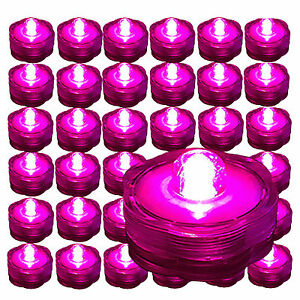 36 QTY HOT PINK Submersible LED tea lights- Eiffel Tower Vase, Water Beads