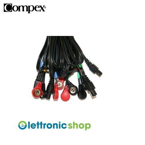 Compex Set 4 cables Snap colours  rot Gelb Blau Grün cod.001119